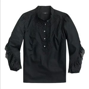 J. Crew Ruffle-Sleeve Top with Embroidered Eyelet in Black size XS Ruffle Stripe